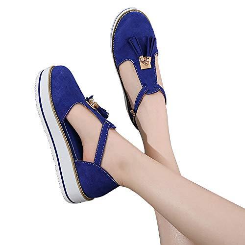 CCCS Damen Quaste Sandalen Runde Zehen Sandaletten Flatform Freizeitschuhe Sommerschuhe Flachschuhe weiche Verschleißfest