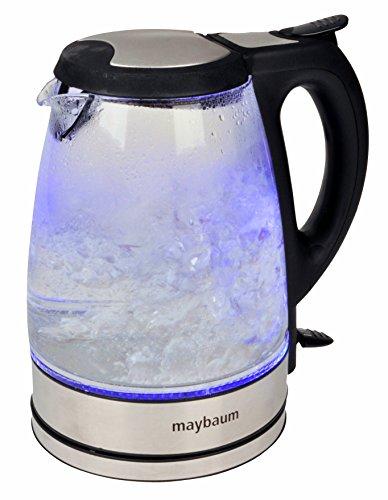 Maybaum Design Bollitore in vetro con illuminazione interna a LED di colore blu, 1,7litri, 2.200watt