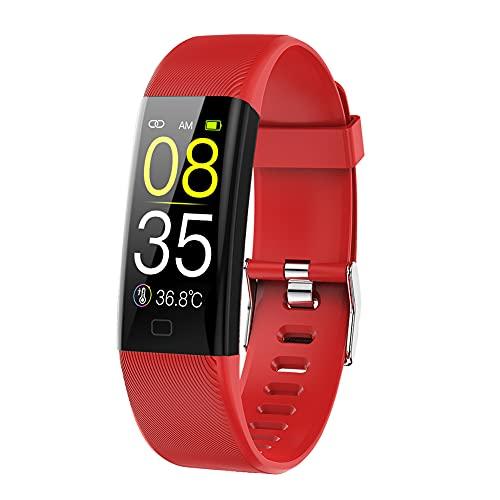 chebao, Reloj inteligente, rastreador de actividad física con oxígeno en sangre, pulsera inteligente F07T, reloj deportivo con monitor de presión arterial (rojo)