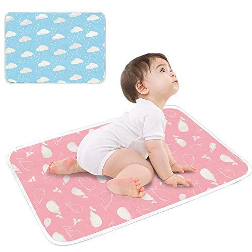 SaponinTree 2 Stück Wasserdicht Wickelunterlage für Babys und Kleinkinder, 50x70cm Waschbar Inkontinenzauflage Wiederverwendbare Urin Matte Abdeckung, Atmungsaktiv, fürs Kleinkind Jungen Mädchen