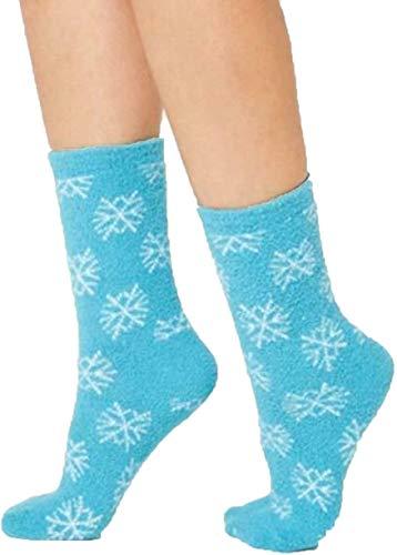 Charter Club Snowflake Fuzzy Cozy Socks, Teal