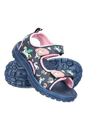 Mountain Warehouse Sandales Sand pour Enfant - Chaussures de Plage d'été résistantes - avec Doublure en néoprène, Fermeture à Boucle et Talon Amovible Bleu Marine 34