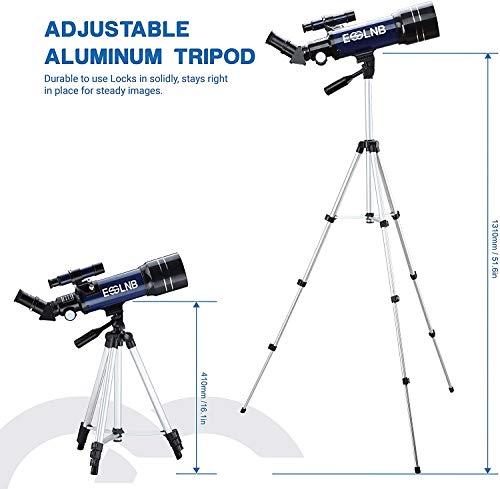 ESSLNB Telescopio Astronomico Bambini con Treppiede Regolabile e Adattatore Telefonico 70mm Completamente Rivestito Lente Barlow Lente per Bambini