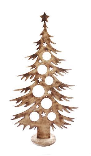 Bergliebe Dekobaum Weihnachtsdekoration Weihnachtsbaum Christbaumkugeln rustikal Vintage geflammtes Holz 103.5x58 cm Pohmer Design
