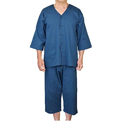 紳士 前開きシャツ ステテコ クレープ肌着上下組 綿100% 1インディゴ LL