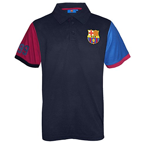 FC Barcelona Official Soccer Gift Mens Contrast Sleeve Polo Shirt Medium