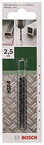 Bosch Professional 2 609 255 003 Broca para metal HSS-R, DIN 338, 2.5 mm