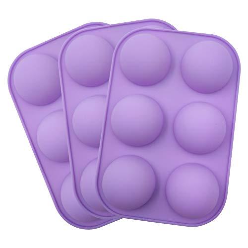 3 verpakkingen siliconen cakevorm 6 holte semi-bolvormige bakvorm, siliconen cakevorm, middelgrote semi-bol siliconen mal voor het maken van chocoladetaart Jelly Dome Mousse (paars)