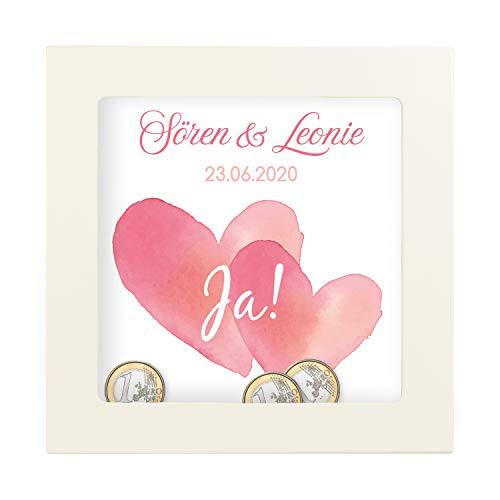 Geschenke 24 3D Bilderrahmen zum Befüllen Herz Motiv 25 x 25cm - Personalisiertes Geldgeschenk für Paare – kreative Verpackung Hochzeit