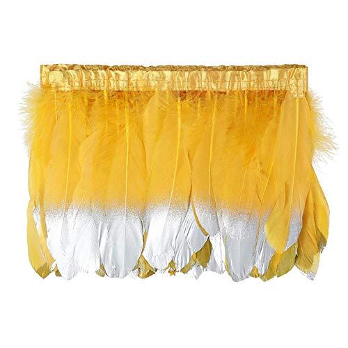 Kolight 2 Yards Natürliche gefärbte Gänsefedern, 15~20 cm, Fransen für DIY Kleid, Nähen, Basteln, Kostüme, Dekoration Gold yellow+Silver