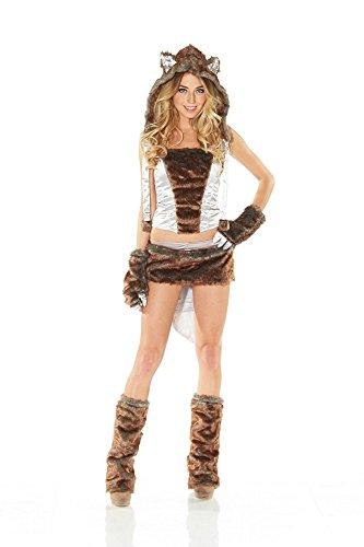 Fell-Kostüm Fell-Kostüm Sexy Wolf Graubraun Gr. 36/38