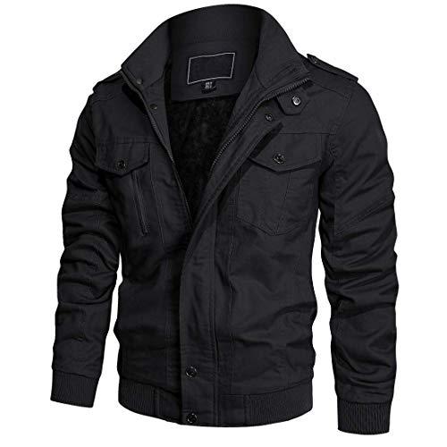 KEFITEVD Hommes Veste Polaire Cargo Chaude Vestes Militaires à Fermeture éclair Manteau Hiver,150# Noir,S
