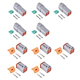 MUYI 5 Kit 6 Pin Way DT Series Connector Gray Receptacle IP67 Waterproof Heavy Duty 14-22 AWG 13 Amps Continuous DT04-6P DT06-6S w/Wedge Lock W6P W6S (5 Kits, 6 Pin)