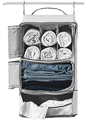 Hanging Portable Luggage Suitcase Closet Shelving Organizer w/ hooks| For Travel, Camper, RV |Packing Cube(Grey) by