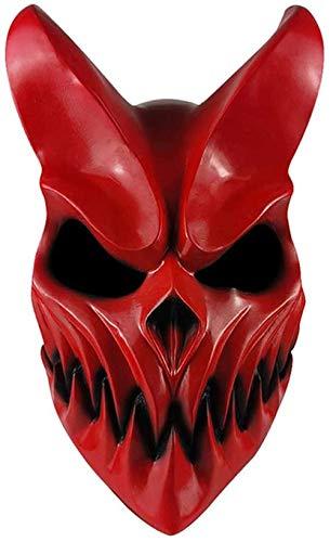 Oni Devil - Máscara de Halloween japonesa tradicional para disfraz de demonio (rojo, material de PVC con boca móvil)