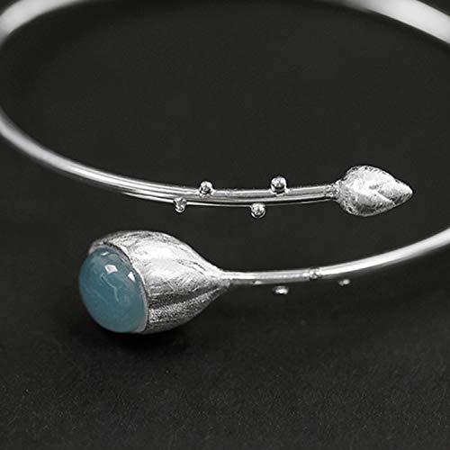 Lotus Fun S925 Sterling Silber Armreif Elegante Lotusknospen Armreif Natürlicher Aquamarin Kreativ Handgemachter Einzigartiger Schmuck für Frauen und Mädchen (Silver-Blue)