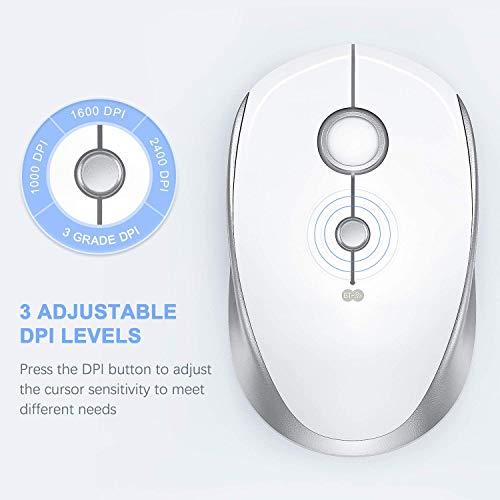 Jelly Comb Bluetooth und 2.4G Dual Modus Maus, Kabellose USB Funkmaus für PC/Laptop/Tablet/Handy unter Windows/Android/Mac OS/iOS, Weiß und Silber