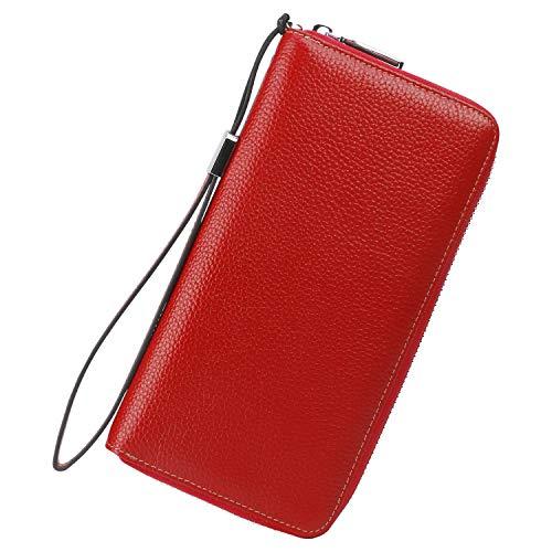 Lavemi Women's RFID Blocking Leather Zip Around Wallet Large Phone Holder Clutch Travel Purse Wristlet(Large Size Pebble Red)
