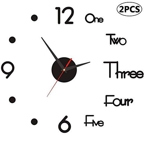 BESTZY Orologi da Parete 3D, 2 Pezzi Orologio da Parete Adesivo Silenzioso DIY Adesivo 3D Stickers Numeri Romani Orologio da Parete Decorazione per Casa, Ufficio, Hotel