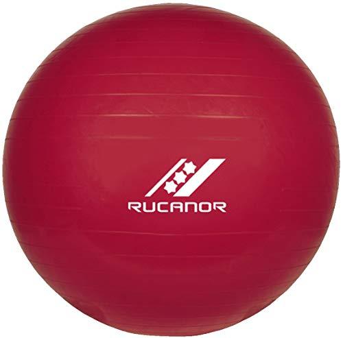 Rucanor Gymnastikball 75 cm, Anti-Burst Yoga ball, Pilates Ball, Sitzball Inklusiv Fußpumpe, Rot