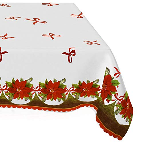 6 Disposable Christmas Tablecloths 54' X 108' Red White & Green Plastic Table Cover Party Supplies Decoration for Holiday Buffet Banquet & Picnic Tables Poinsettia Winter Theme Design by Gift Boutique
