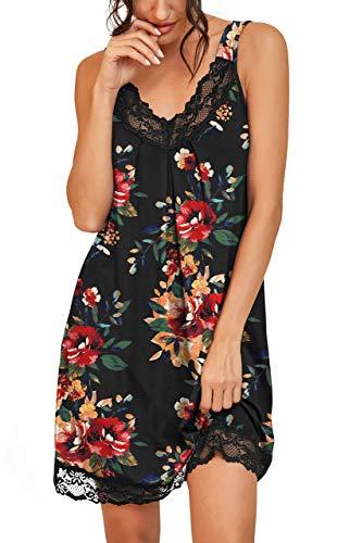 PrinStory Women's Loose Full Slips Lace Nightgown Chemise Sleepwear Cotton Jersey Lingerie US Medium Print Flower Brown Black