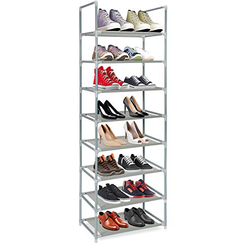 Metal Shoe Rack Organizer 8 Tiers,Shoes Storage Shelf 16 Pairs Free Standing Shoe Rack,Stackable and Durable for Bedroom, Closet, Entryway, Dorm Room(Grey)
