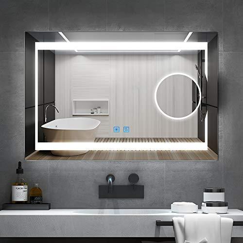 Quavikey Specchio da bagno a LED, 80 x 60 cm, in alluminio, con illuminazione a LED, 3 ingressi senza piombo, anti-appannamento, interruttore touch, luminosità regolabile