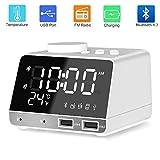 ZeroPlusOne® Digital Alarm Clock Radio Alarm Clocks Bedside with Bluetooth 4.2 Speaker,FM Radio,Sleep