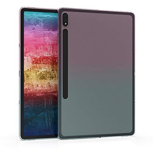 kwmobile Cover Compatibile con Samsung Galaxy Tab S7 Plus - Custodia Tablet in Silicone TPU - Copertina Protettiva Tab - Backcover - 2 Colori Fucsia/Blu/Trasparente