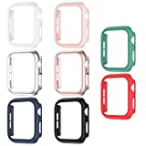 8 Pack Matte Case Compatible with Apple Watch 44mm SE Series 6/ 5/ 4, Fvlerz Hard PC Bumper Frame [No Screen Protector] Shockproof Cover All-Around Protective iWatch Accessories