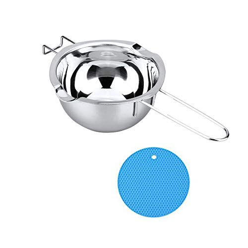 Stainless Steel Universal Double Boiler insert,Heat-resistant Handle Flat Bottom Melting Pot for Butter Chocolate Cheese Caramel Baking Tools with Insulation Pad By Chuanyue