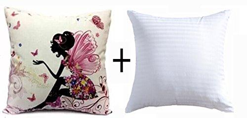 Coton Lin Fille avec rose Aile d'elfes et papillons NEUF décoratifs Taie d'oreiller Couvre-lit Taie d'oreiller Housse de coussin carré 45,7 cm 45,7 cm Home Vie ¡, Coton, Case with insert, 18\
