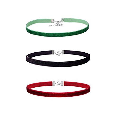 Frauen samt Collier Umhängeband Halsband schwarz, rot, grün