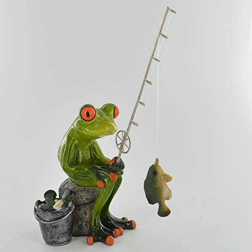 Comical Frogs - Reel Them In Fishing Novelty Home Decor Joke Present Gift H18cm