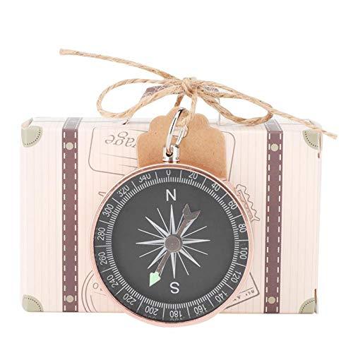 Caja Caja de Papel Kraft Caja de Regalo 20Pcs Caja de Regalo de Boda Cajas de Dulces con brújula y Etiquetas Kraft para Viajes Favores de Boda Decoraciones(Oro Rosa)