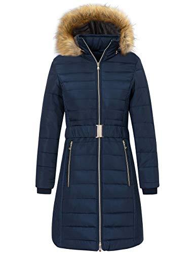 Wantdo Women's Heavy Winter Coats Padded Outwear Puffer Coats Dark Blue Medium