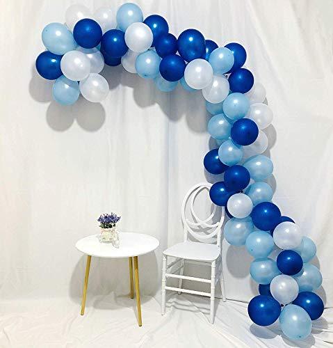 Erosion Blaue und weiße Ballons 100 Stück 12-Zoll-Royal Blue Balloons Hellblaue Ballons Weiße Ballons Blaue Ballons Latexballons für Jungen Taufe, Cinderella Party, Jungen 1. Geburtstag