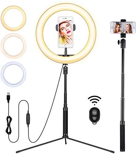 Havit Trípode con Anillo de luz (3 Colores y 10 Brillos), luz LED de 10 Pulgadas y Receptor Bluetooth