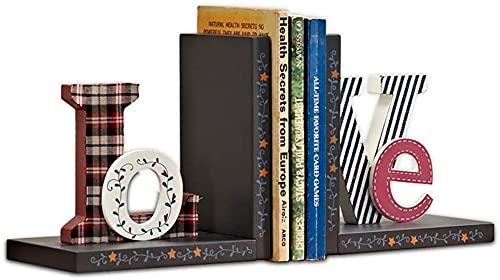 LQ Libro Termina Letters Love Bookends Libro para niños Termina para estantes Decorative Bookends Soportes Soportes de Libros Escritorio Set Set para Libros Pesados Libro de tapón Carpeta