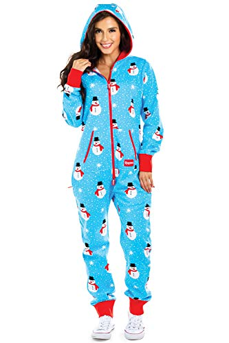 Cozy Women's Christmas Onesie - Blue Chilly Snowman Holiday Cozy Adult Jumpsuit: Medium