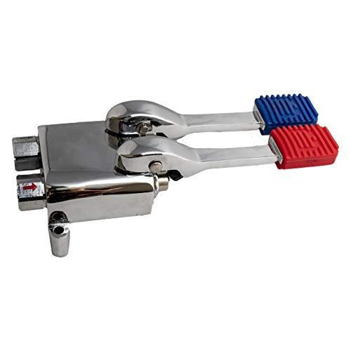 Grifo pedal mezclador dos aguas para fregaderos industriales de hostelería, lavamanos a pedal. Grifo de pie con dos pedales pulsadores de agua fría y caliente.