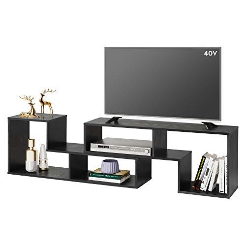 DEVAISE Flat Screen TV Stand for 55 65 75 inch TV, Modern Entertainment Center with Storage Shelves, Media Console Bookshelf for Living Room, Black