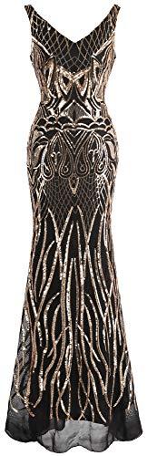Angel-fashions Damen V-Ausschnitt Rückenfrei Floral Pailletten Bodycon Abendkleid - Gold - Klein