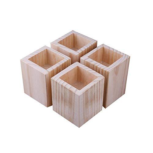 Holz, Möbel Riser, Bed Rise, Rechteckig, Erhöhung Für Sofa, Tisch Riser,Elefantenfuß Bed Riser, 4Er Set, Innendurchmesser 6Cm, Erhöhung 15Cm