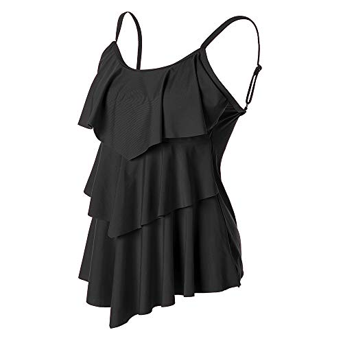 Summer Mae Women Ruffle Tankini Top Double Flounce Printed Swim Top Tummy Control Bathing Suits Black