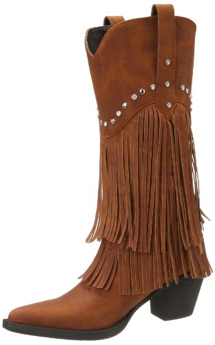 Hot Sale Roper Women's Fringe and Stud Western Boot,Brown,10 M US