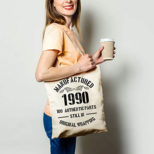 Funny 1990 30th Birthday Gift Natural Cotton Reusable Tote Bag | Classic 1990 Eco-Friendly Cotton Tote Bag School Shoulder Bag Gifts for Women Men Friends Coworker