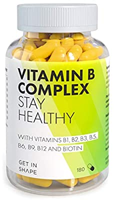 Vitamin B Complex - 180 Highly dosed Capsules for Daily Intake with Vitamin b12, Vitamin b6, folic Acid, biotin, niacin etc. by Get In Shape