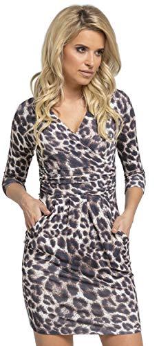 Glamour Empire. Mujeres con Cuello en V Vestido de lápiz con Bolsillos 236 (Leopardo De Brown, EU 36, S)